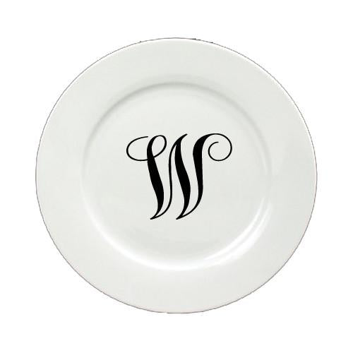 Letter W Initial Monogram Script Ceramic White Dinner Plate CJ1057-W-DPW-11 by Caroline's Treasures