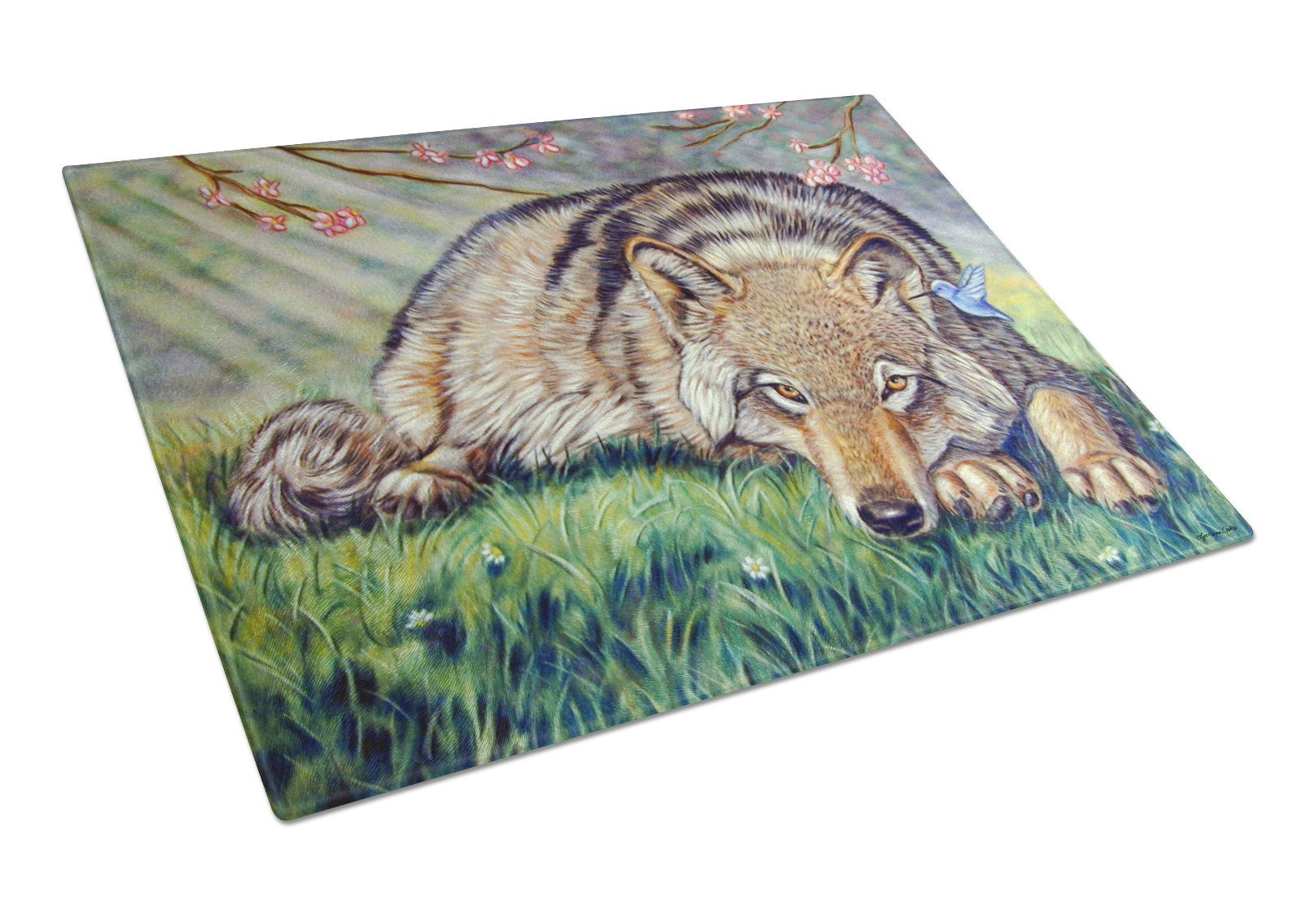 Wolf and Hummingbird Glass Cutting Board Large 7356LCB by Caroline's Treasures