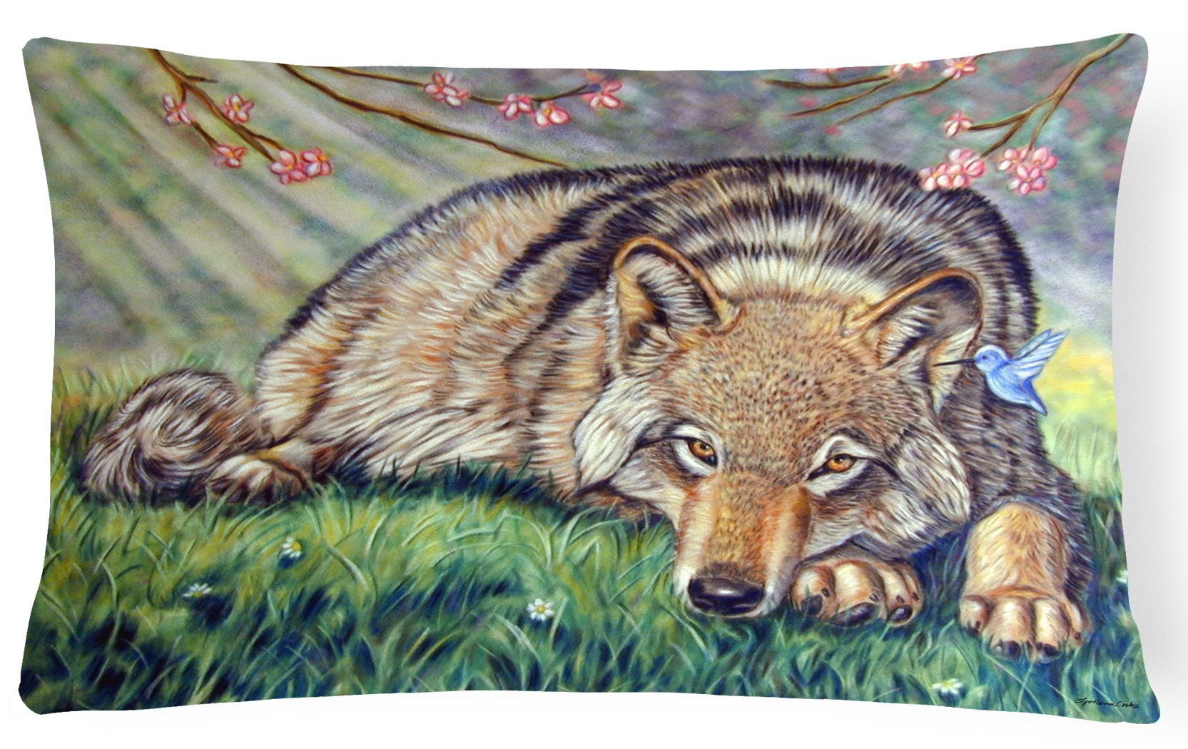Wolf and Hummingbird Fabric Decorative Pillow 7356PW1216 by Caroline's Treasures