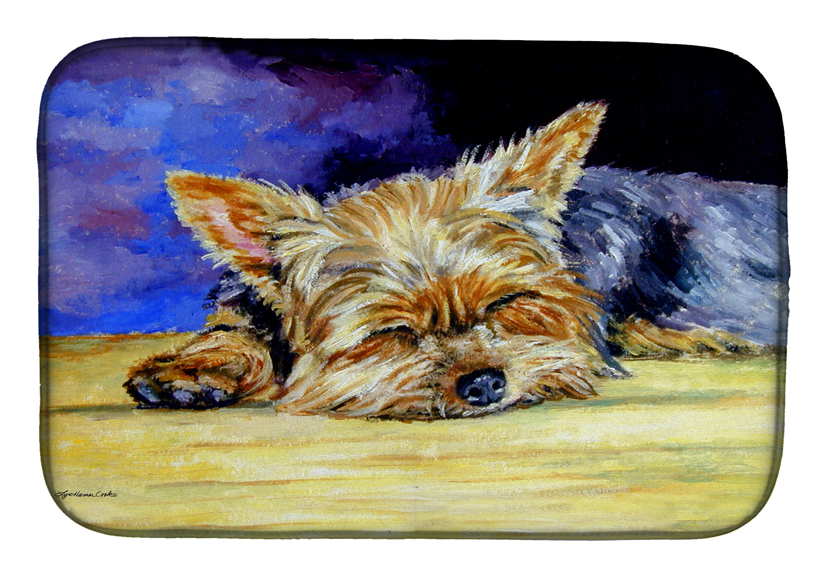 Yorkie Taking a Nap Dish Drying Mat 7357DDM by Caroline's Treasures