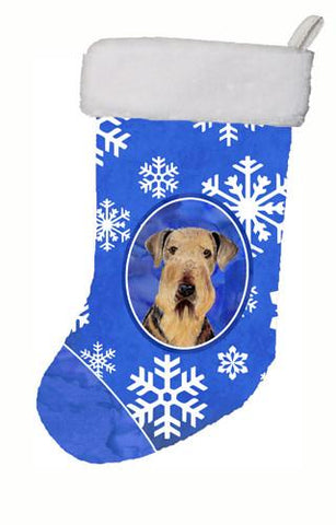 Buy this Airedale Winter Snowflakes Christmas Stocking SC9373