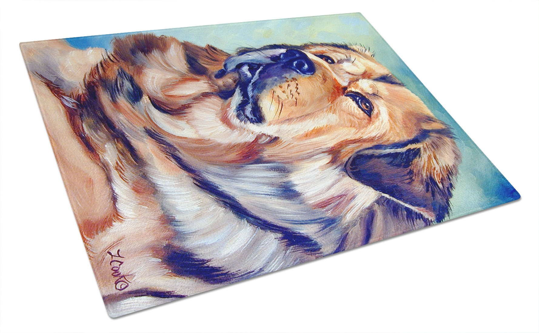 Tibetan Mastiff Glass Cutting Board Large 7399LCB by Caroline's Treasures