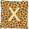 Monogram Initial X Giraffe Decorative   Canvas Fabric Pillow CJ1025 - the-store.com