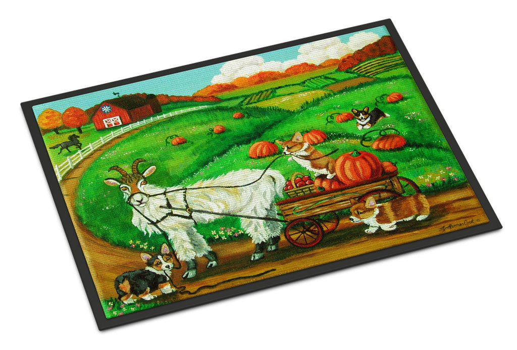 Buy this Corgi Pumpkin Ride with Goat Indoor or Outdoor Mat 18x27 7414MAT