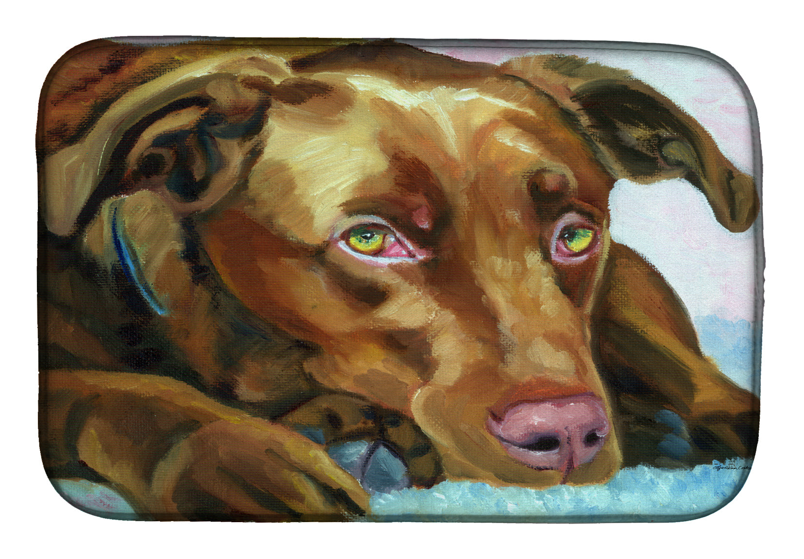 Buy this Chocolate Labrador Waiting Dish Drying Mat 7420DDM