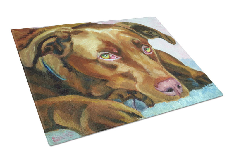 Buy this Chocolate Labrador Waiting Glass Cutting Board Large 7420LCB