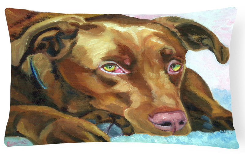 Buy this Chocolate Labrador Waiting Fabric Decorative Pillow 7420PW1216