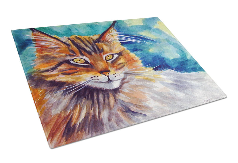 Buy this Maine Coon Cat Watching you Glass Cutting Board Large 7421LCB