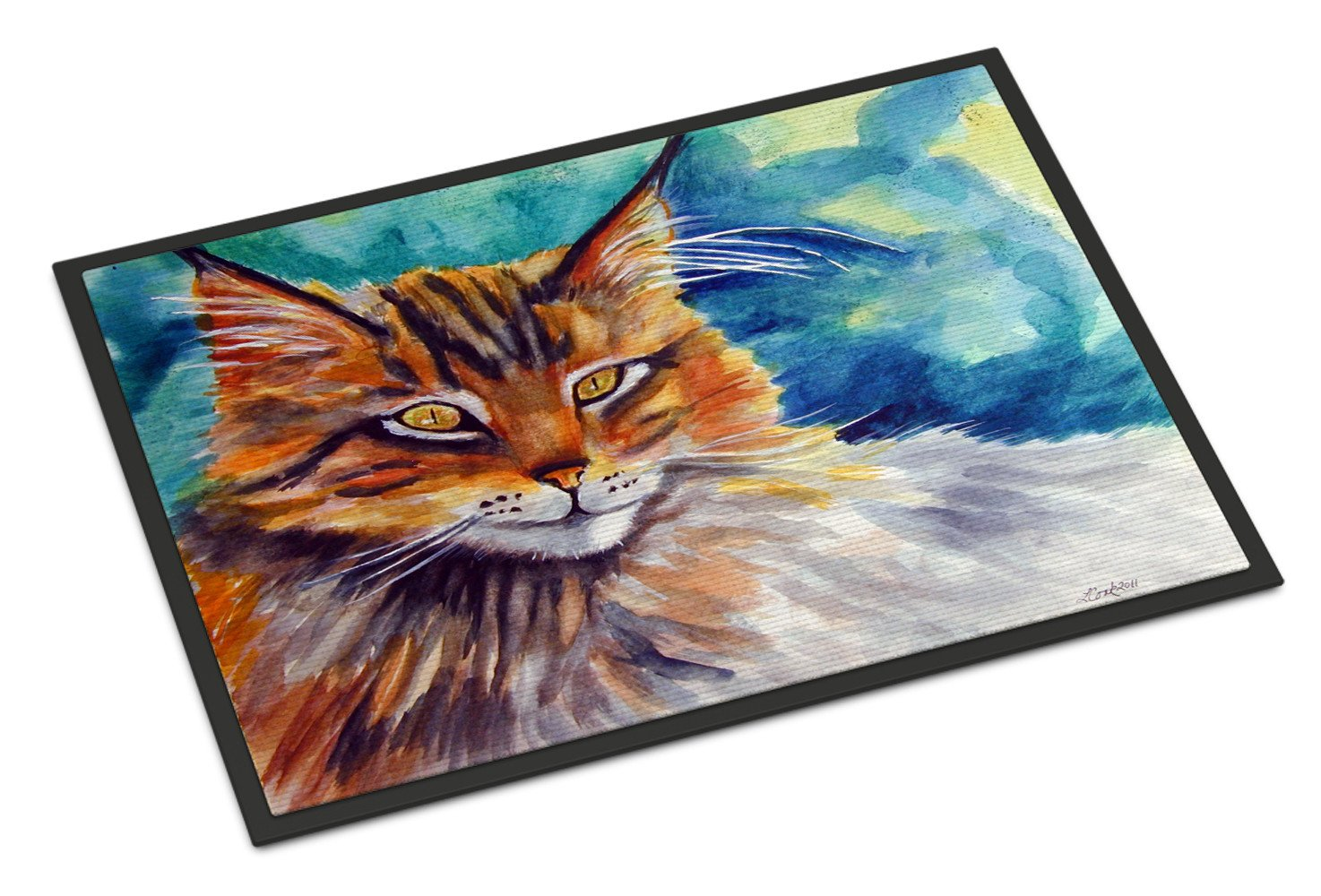 Buy this Maine Coon Cat Watching you Indoor or Outdoor Mat 18x27 7421MAT