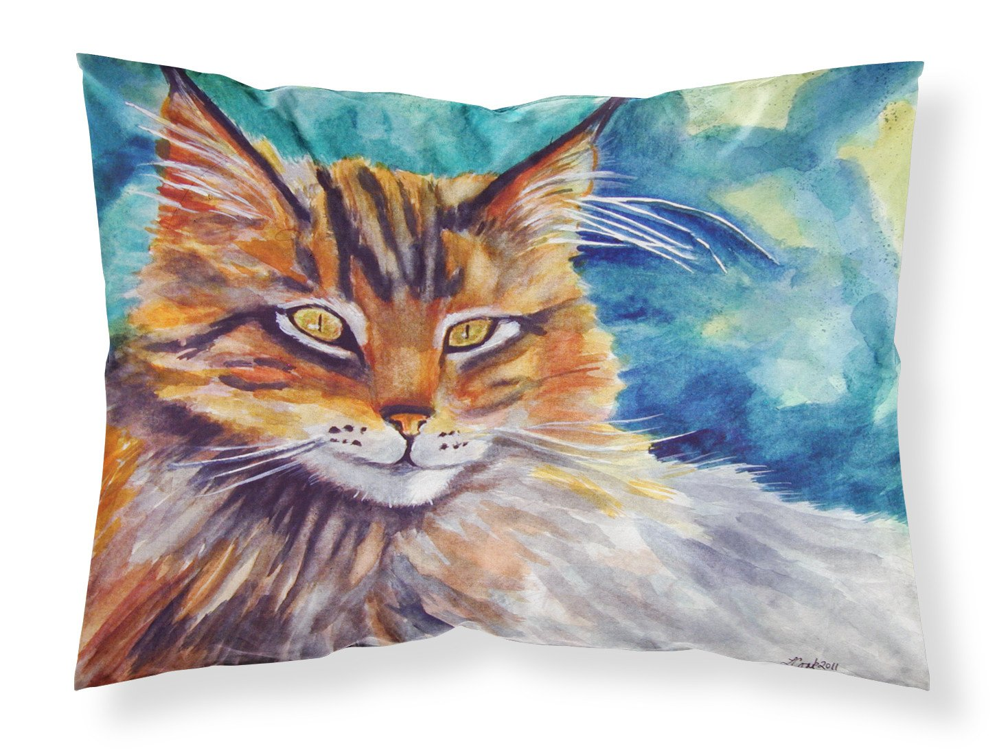 Maine Coon Cat Watching you Fabric Standard Pillowcase 7421PILLOWCASE by Caroline's Treasures