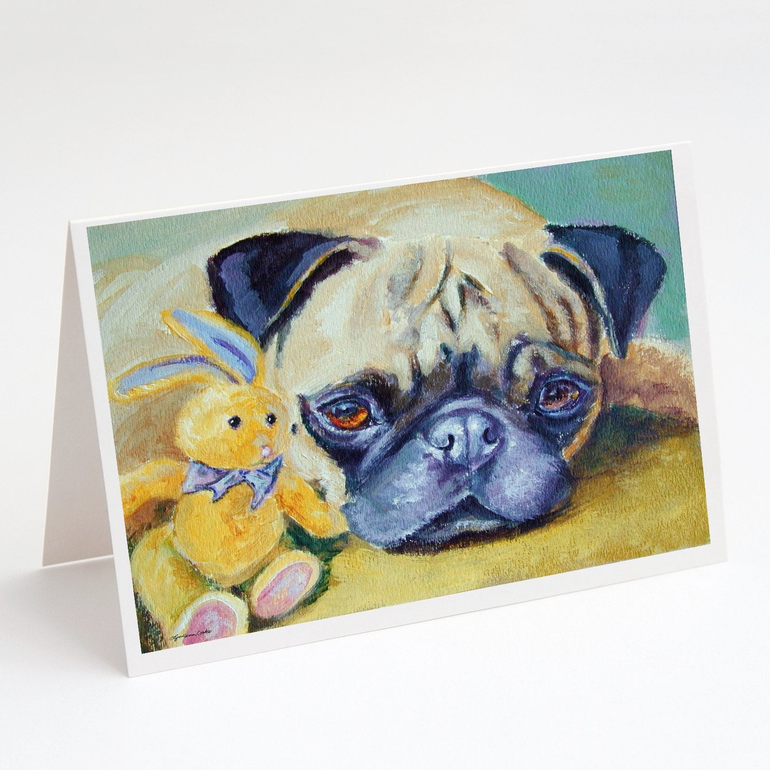 Buy this Pug Bunny Rabbit Greeting Cards and Envelopes Pack of 8