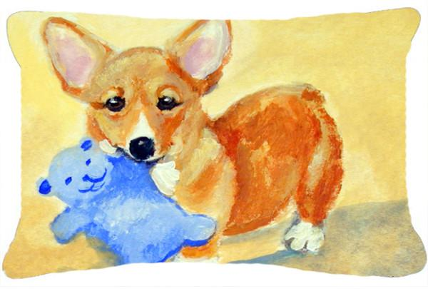 Corgi and Teddy Bear Fabric Decorative Pillow 7432PW1216 by Caroline's Treasures