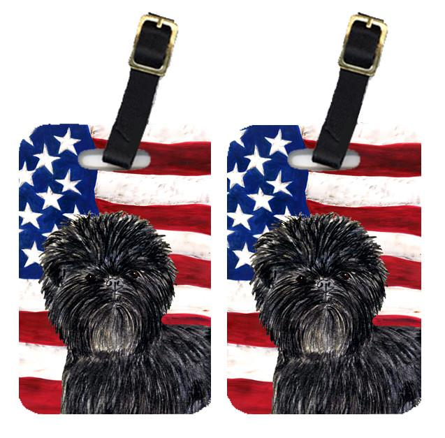 Buy this Pair of USA American Flag with Affenpinscher Luggage Tags SS4038BT