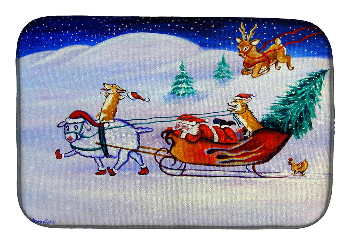 Buy this Corgi Highhacked Santa Claus Sleigh Dish Drying Mat 7442DDM