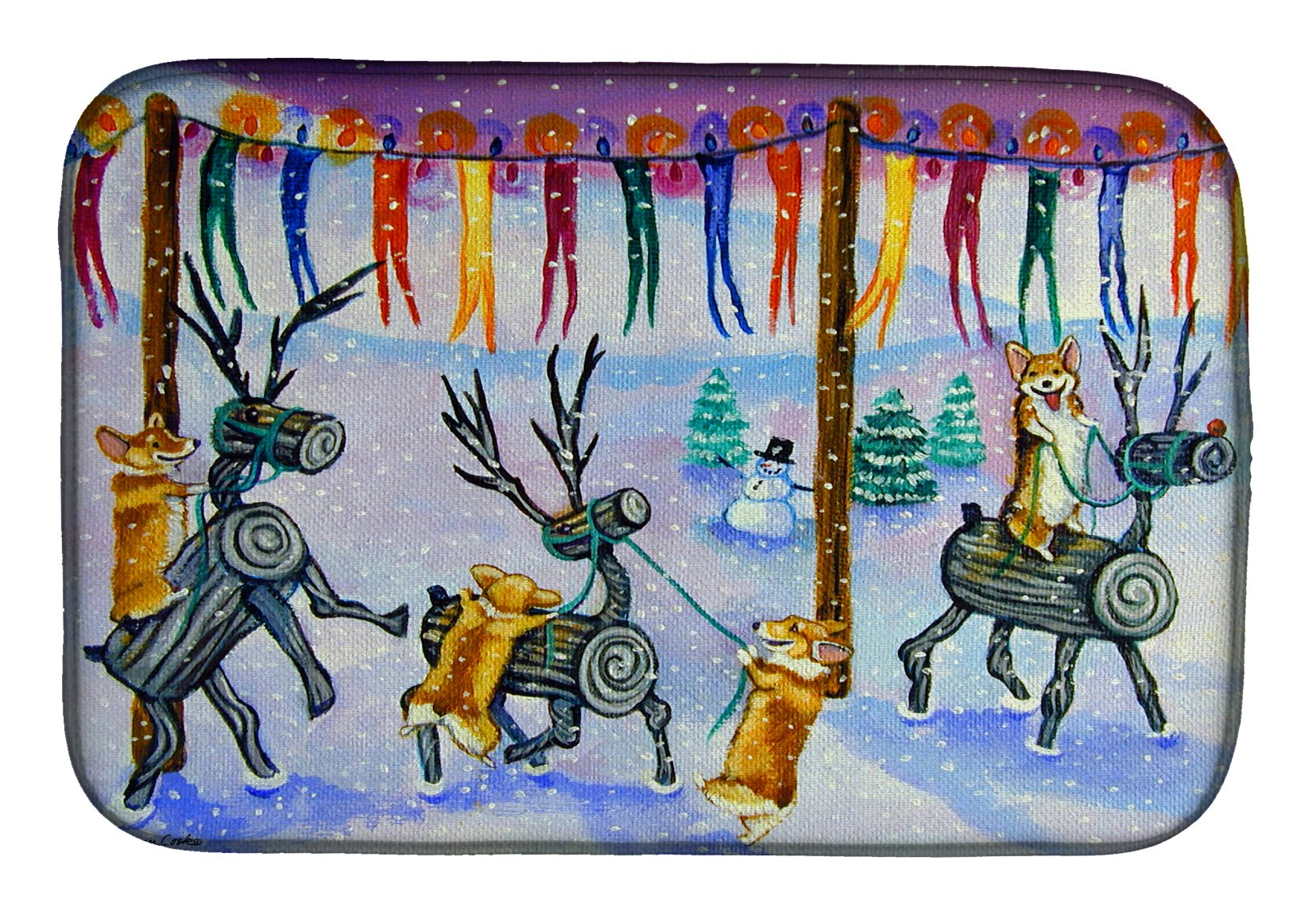 Buy this Corgi Log Reindeer Race Christmas Dish Drying Mat 7443DDM