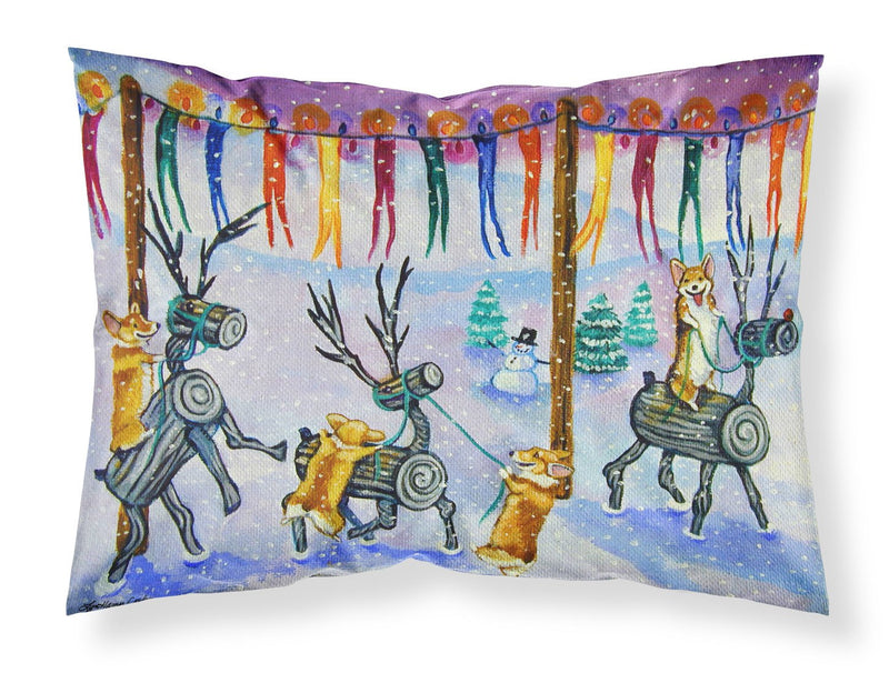 Buy this Corgi Log Reindeer Race Christmas Fabric Standard Pillowcase 7443PILLOWCASE