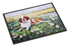 Saint Bernard in Flowers Indoor or Outdoor Mat 18x27 7446MAT - the-store.com