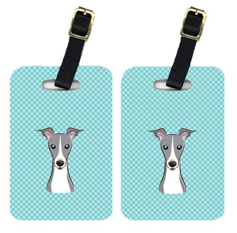 Buy this Pair of Checkerboard Blue Italian Greyhound Luggage Tags BB1174BT