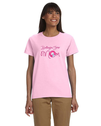 Buy this Pink Bedlington Terrier Mom T-shirt Ladies Cut Short Sleeve Medium