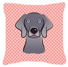 Checkerboard Blue Weimaraner Canvas Fabric Decorative Pillow BB1231PW1414 - the-store.com