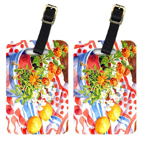 Buy this Pair of 2 Flowers with a side of lemons Luggage Tags
