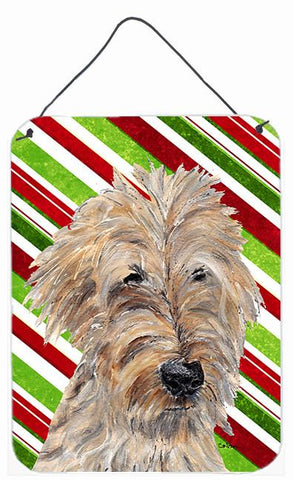 Buy this Goldendoodle Candy Cane Christmas Aluminium Metal Wall or Door Hanging Prints
