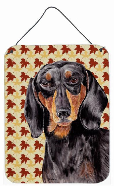 Dachshund Fall Leaves Portrait Aluminium Metal Wall or Door Hanging Prints by Caroline's Treasures