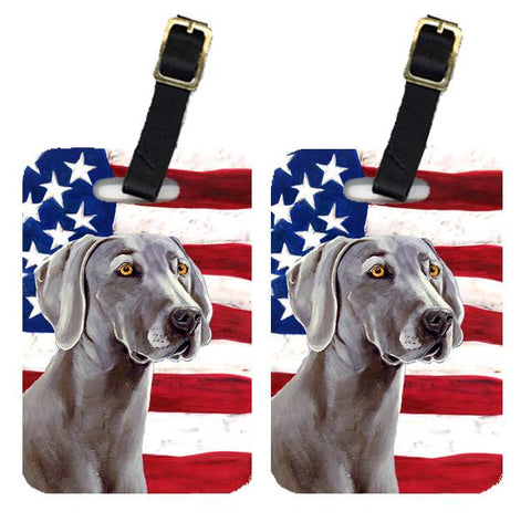 Buy this Pair of USA American Flag with Weimaraner Luggage Tags LH9001BT