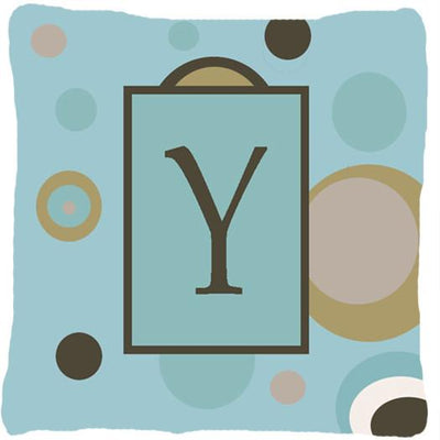 Buy this Monogram - Initial Y Blue Dots Decorative   Canvas Fabric Pillow CJ1013