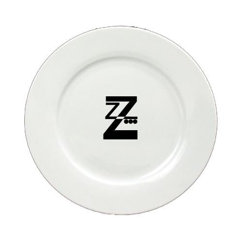 Buy this Letter Z Initial Monogram Modern Round Ceramic White Salad Plate CJ1056-Z-DPW