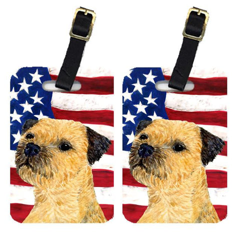 Buy this Pair of USA American Flag with Border Terrier Luggage Tags SS4247BT