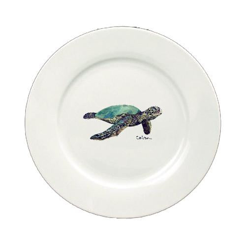 Buy this Loggerhead Turtle Swimming Round Ceramic White Salad Plate 8635-DPW