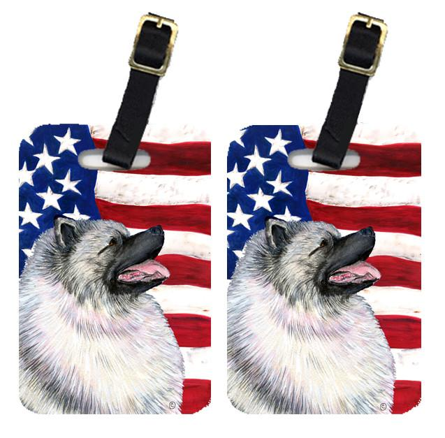 Buy this Pair of USA American Flag with Keeshond Luggage Tags SS4051BT