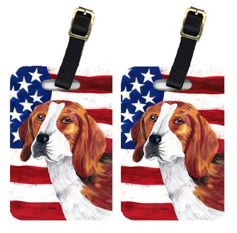 Buy this Pair of USA American Flag with Beagle Luggage Tags SC9005BT