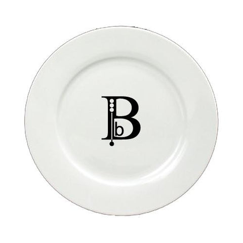 Buy this Letter B Initial Monogram Modern Round Ceramic White Salad Plate CJ1056-B-DPW