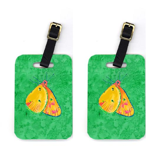 Pair of Butterfly Orange on Green Luggage Tags by Caroline's Treasures