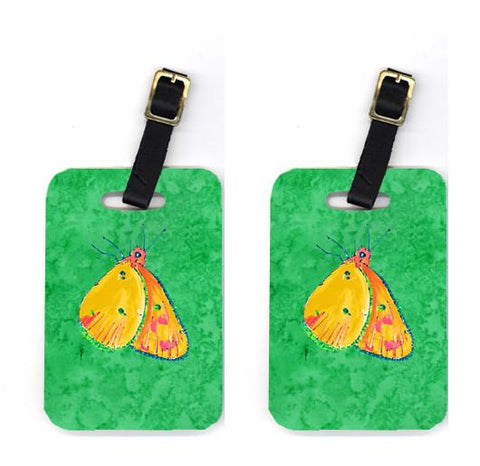 Buy this Pair of Butterfly Orange on Green Luggage Tags