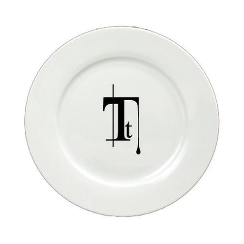 Buy this Letter T Initial Monogram Modern Round Ceramic White Salad Plate CJ1056-T-DPW