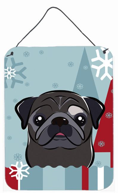 Buy this Winter Holiday Black Pug Wall or Door Hanging Prints BB1759DS1216