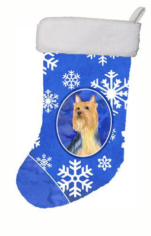 Buy this Silky Terrier Winter Snowflakes Snowflakes Holiday Christmas  Stocking LH9271