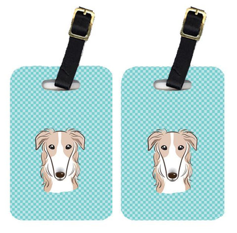 Buy this Pair of Checkerboard Blue Borzoi Luggage Tags BB1166BT