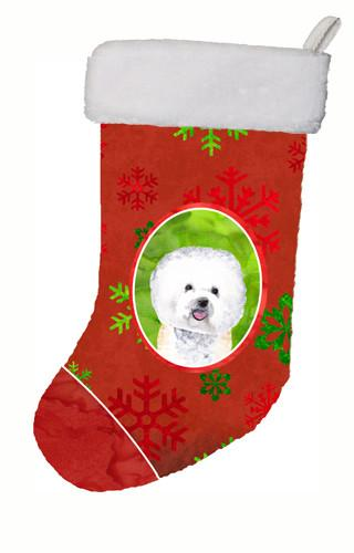 Buy this Bichon Frise Red and Green Snowflakes Holiday  Christmas Stocking
