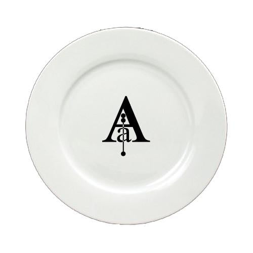 Buy this Letter A Initial Monogram Modern Round Ceramic White Salad Plate CJ1056-A-DPW