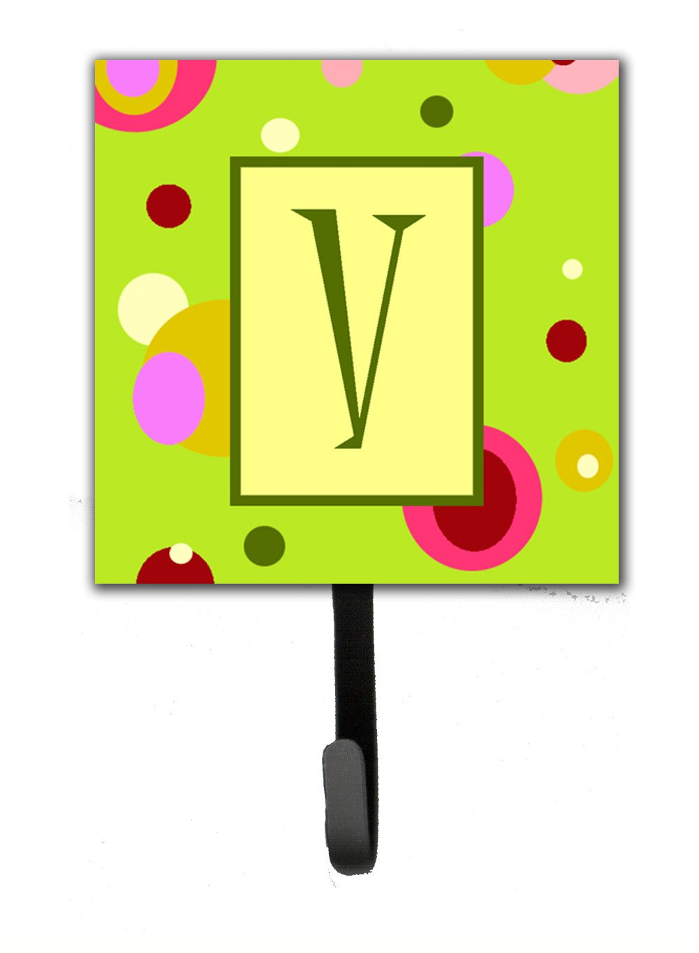 Letter V Initial Monogram - Green Leash Holder or Key Hook by Caroline's Treasures