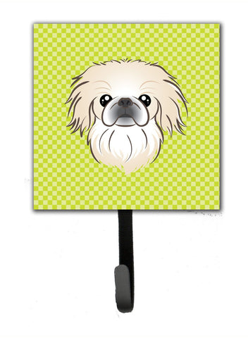 Buy this Checkerboard Lime Green Pekingese Leash or Key Holder BB1283SH4