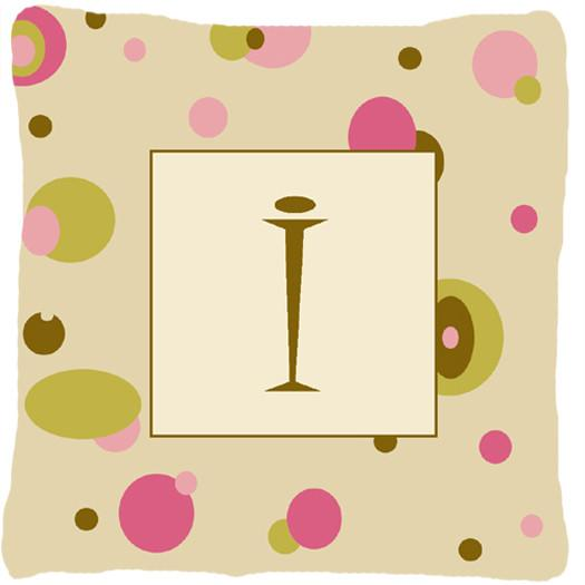 Letter I Initial Monogram - Tan Dots Decorative   Canvas Fabric Pillow - the-store.com