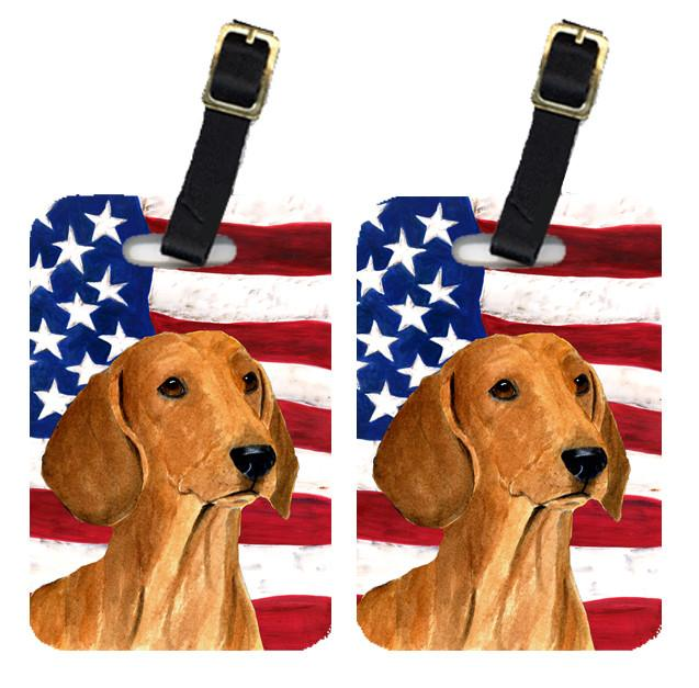 Buy this Pair of USA American Flag with Dachshund Luggage Tags SS4049BT