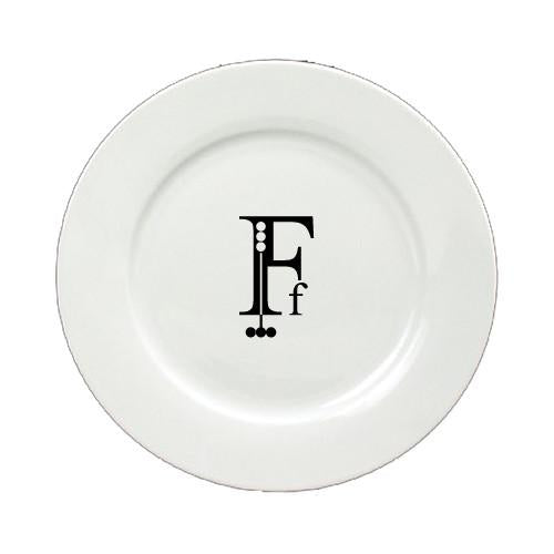Buy this Letter F Initial Monogram Modern Round Ceramic White Salad Plate CJ1056-F-DPW