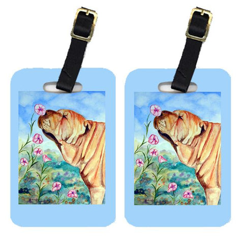Buy this Pair of 2 Shar Pei smell the flowers Luggage Tags
