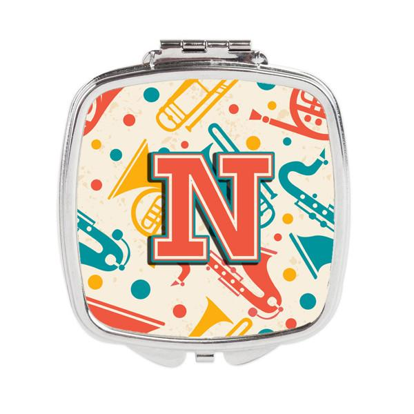 Letter N Retro Teal Orange Musical Instruments Initial Compact Mirror CJ2001-NSCM by Caroline's Treasures